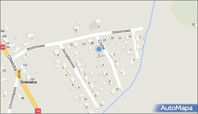 Mikołów, Cisów, 2, mapa Mikołów