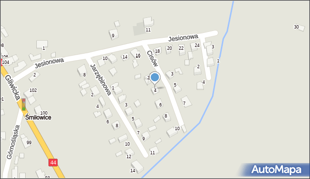 Mikołów, Cisów, 4, mapa Mikołów