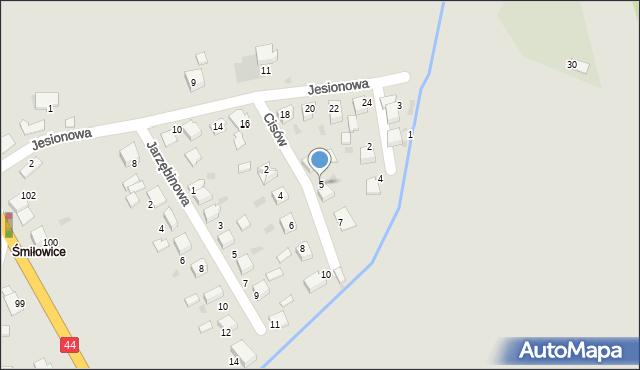 Mikołów, Cisów, 5, mapa Mikołów