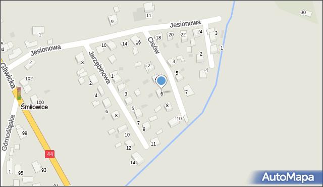 Mikołów, Cisów, 6, mapa Mikołów
