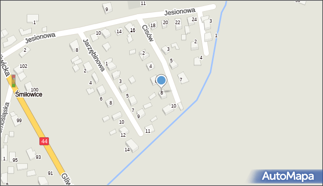 Mikołów, Cisów, 8, mapa Mikołów