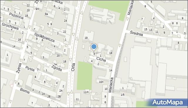 Sosnowiec, Cicha, 3, mapa Sosnowca