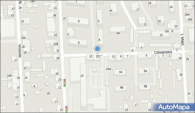 Suwałki, Ciesielska, 13, mapa Suwałk