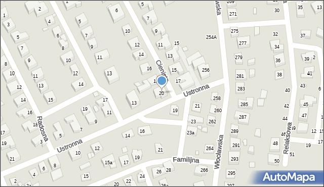 Toruń, Cienista, 20, mapa Torunia