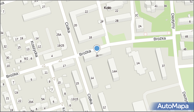 Warszawa, Ciołka Erazma, 16, mapa Warszawy