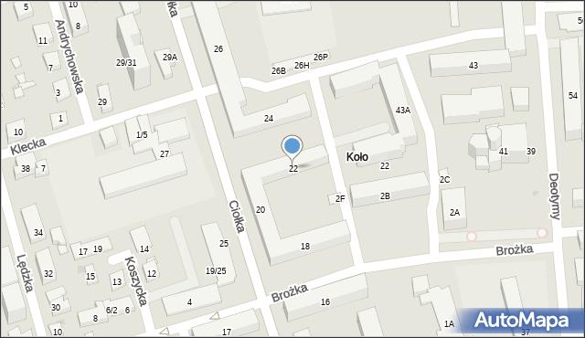 Warszawa, Ciołka Erazma, 22, mapa Warszawy