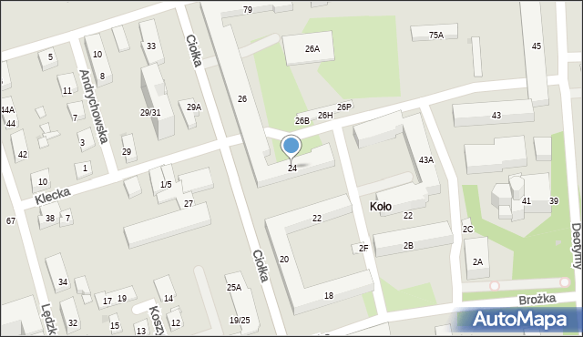 Warszawa, Ciołka Erazma, 24, mapa Warszawy