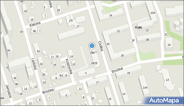 Warszawa, Ciołka Erazma, 25A, mapa Warszawy