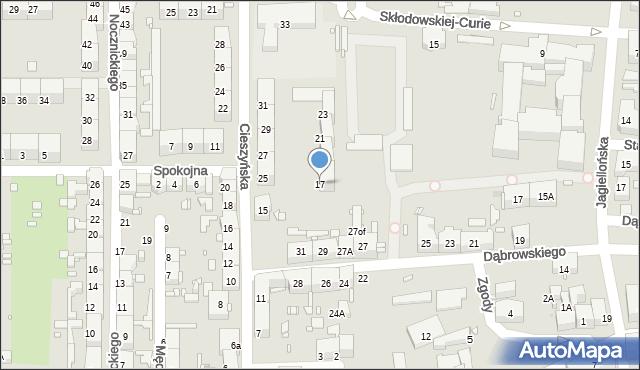 Zabrze, Cieszyńska, 17, mapa Zabrza