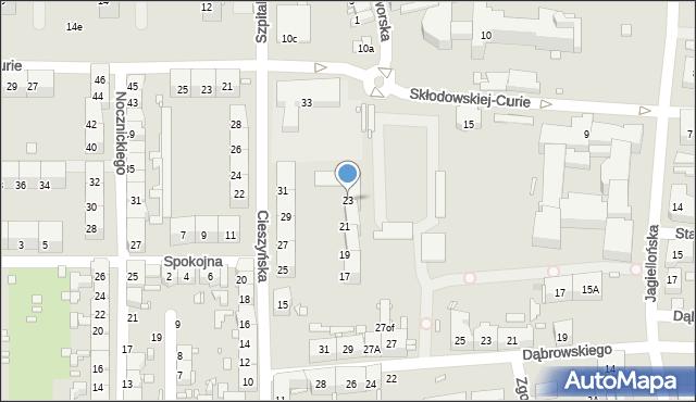 Zabrze, Cieszyńska, 23, mapa Zabrza