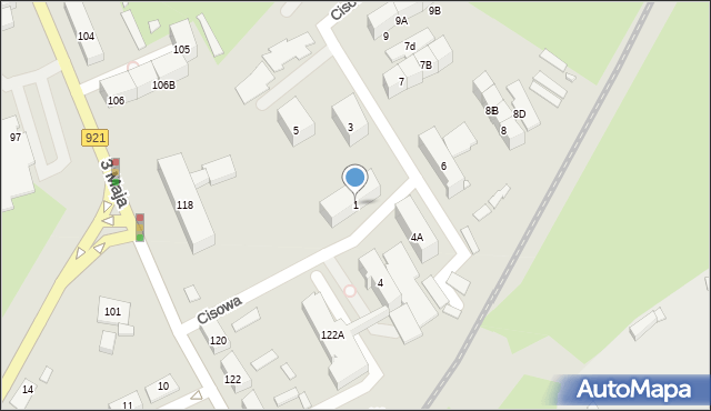Zabrze, Cisowa, 1, mapa Zabrza