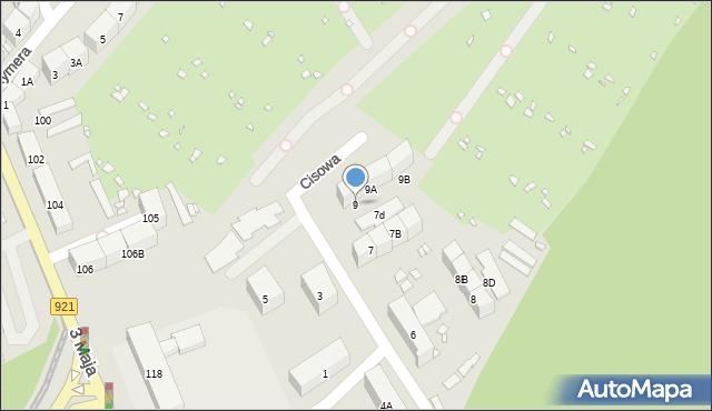 Zabrze, Cisowa, 9, mapa Zabrza