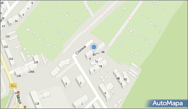 Zabrze, Cisowa, 9A, mapa Zabrza