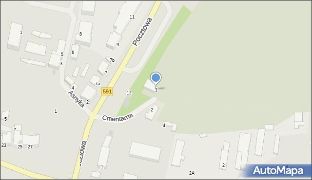 Kętrzyn, Cmentarna, 1, mapa Kętrzyn