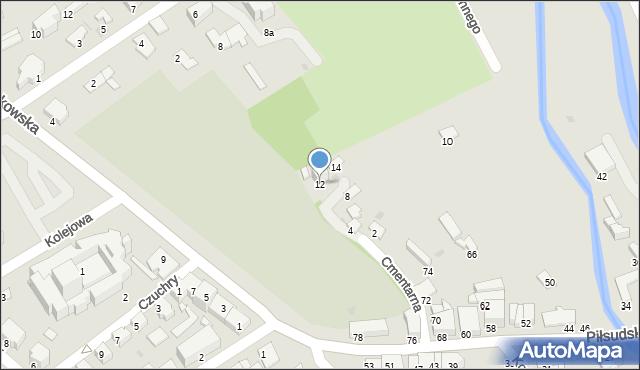 Krosno, Cmentarna, 12, mapa Krosna