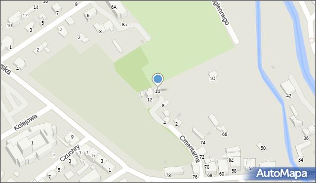 Krosno, Cmentarna, 14, mapa Krosna