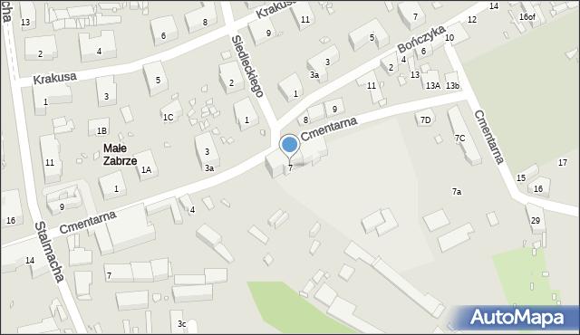 Zabrze, Cmentarna, 7, mapa Zabrza