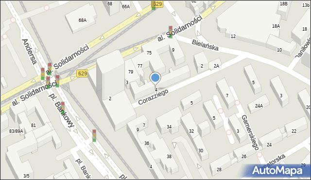 Warszawa, Corazziego Antonia, 4, mapa Warszawy