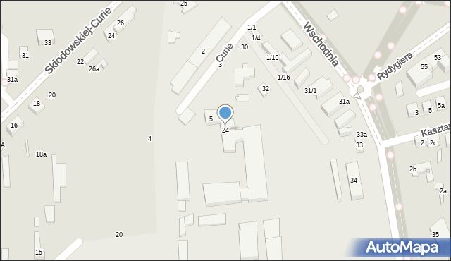 Toruń, Curie Piotra, 24, mapa Torunia