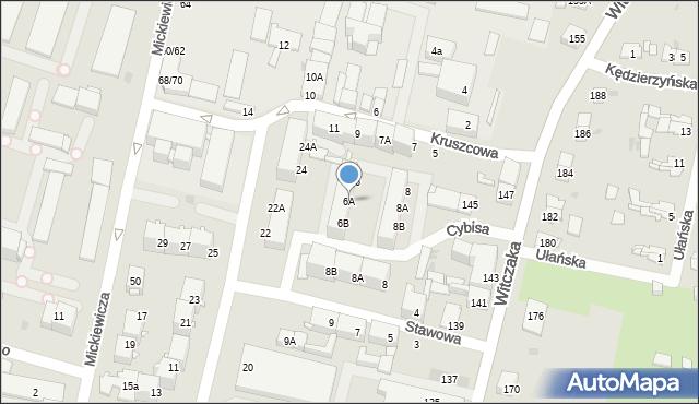 Bytom, Cybisa Jana, 6A, mapa Bytomia