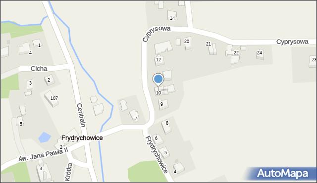 Frydrychowice, Cyprysowa, 10, mapa Frydrychowice
