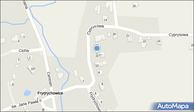Frydrychowice, Cyprysowa, 11, mapa Frydrychowice