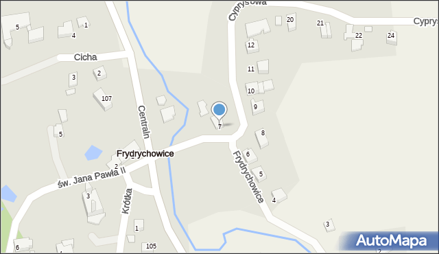 Frydrychowice, Cyprysowa, 7, mapa Frydrychowice