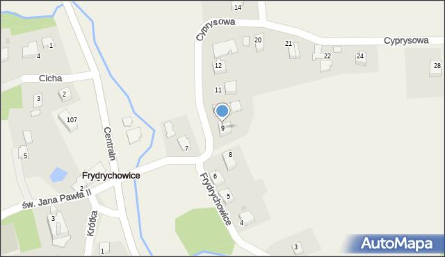 Frydrychowice, Cyprysowa, 9, mapa Frydrychowice