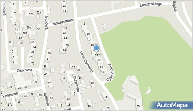 Toruń, Cyprysowa, 24, mapa Torunia