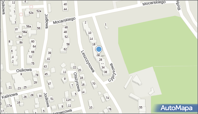 Toruń, Cyprysowa, 26, mapa Torunia