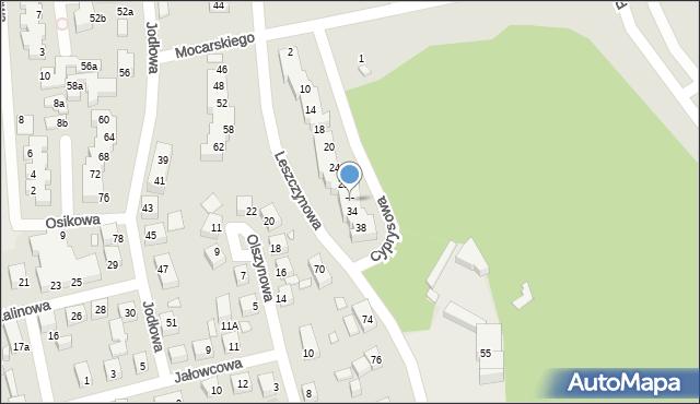 Toruń, Cyprysowa, 32, mapa Torunia