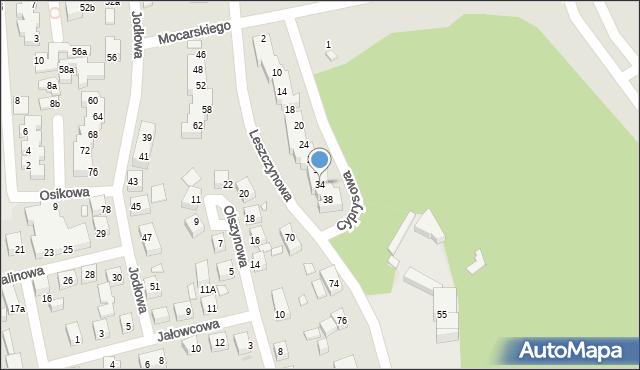 Toruń, Cyprysowa, 34, mapa Torunia