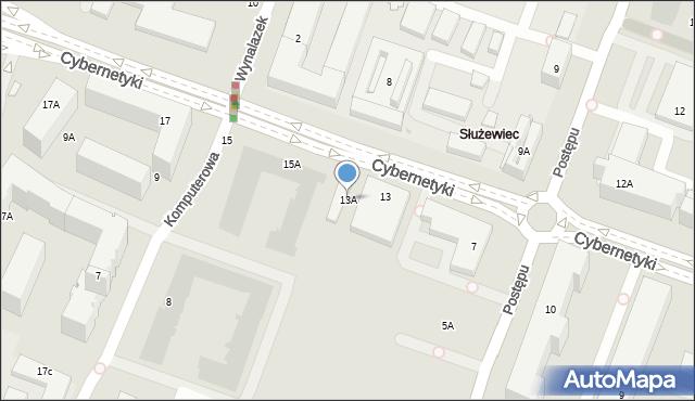 Warszawa, Cybernetyki, 13A, mapa Warszawy