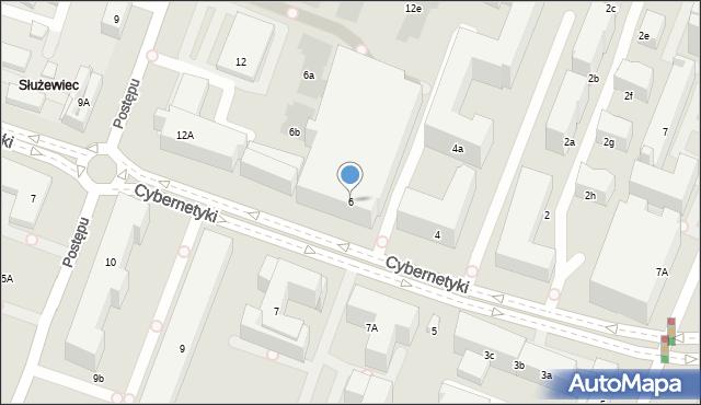 Warszawa, Cybernetyki, 6, mapa Warszawy