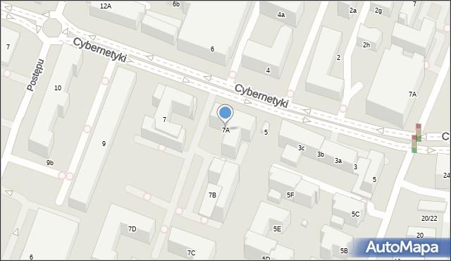 Warszawa, Cybernetyki, 7A, mapa Warszawy
