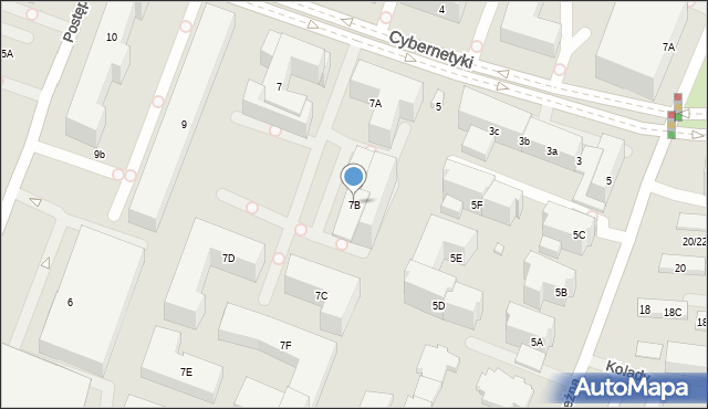Warszawa, Cybernetyki, 7B, mapa Warszawy