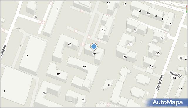 Warszawa, Cybernetyki, 7C, mapa Warszawy