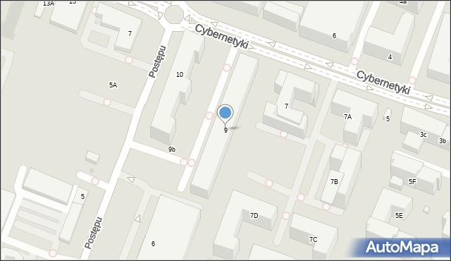 Warszawa, Cybernetyki, 9, mapa Warszawy
