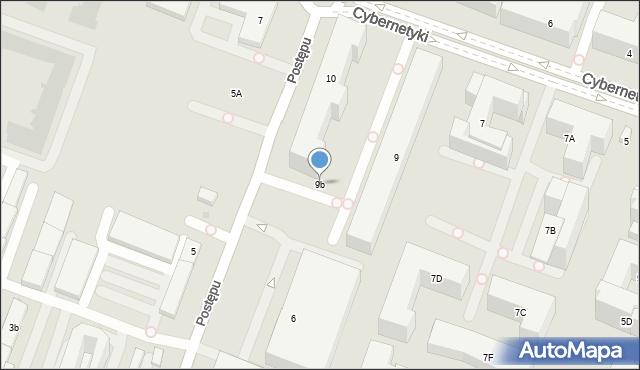 Warszawa, Cybernetyki, 9b, mapa Warszawy