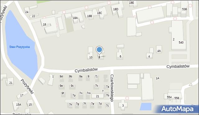 Warszawa, Cymbalistów, 8, mapa Warszawy