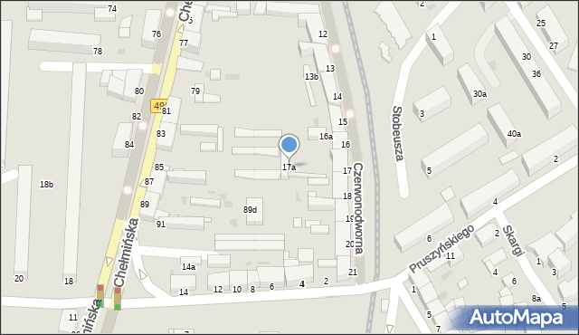 Grudziądz, Czerwonodworna, 17a, mapa Grudziądza
