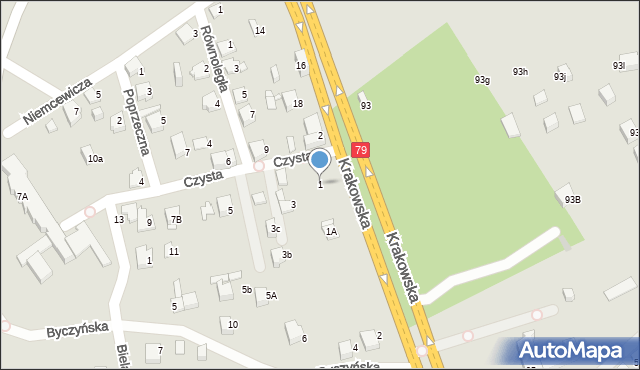 Jaworzno, Czysta, 1, mapa Jaworzno