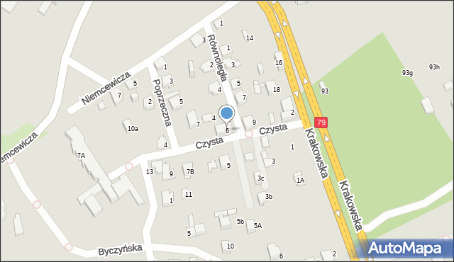Jaworzno, Czysta, 6, mapa Jaworzno