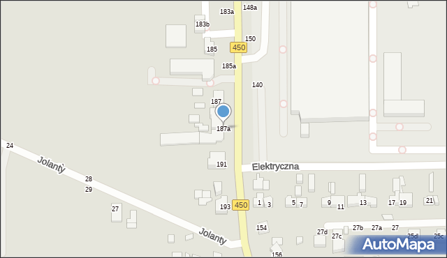 Kalisz, Częstochowska, 187a, mapa Kalisza