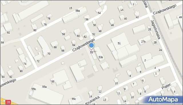 Krosno, Czajkowskiego Feliksa, 53, mapa Krosna