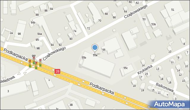 Krosno, Czajkowskiego Feliksa, 55a, mapa Krosna