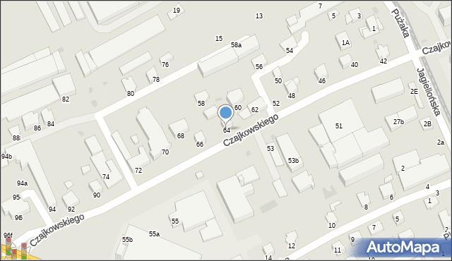 Krosno, Czajkowskiego Feliksa, 64, mapa Krosna