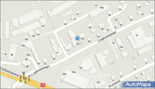 Krosno, Czajkowskiego Feliksa, 70, mapa Krosna