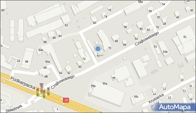 Krosno, Czajkowskiego Feliksa, 72, mapa Krosna