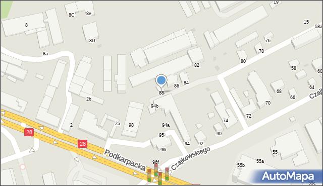 Krosno, Czajkowskiego Feliksa, 88, mapa Krosna